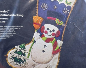 "Vintage SULTANA Christmas Snowman Stocking 18"" Kit No. 32061 Stamped Felt Applique Cotton Floss Holiday Decor Craft"