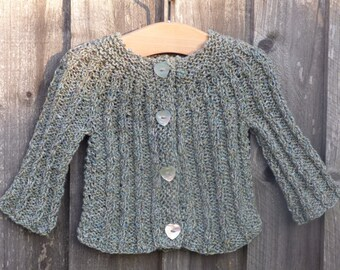 Cardigan TOP DOWN KNITTING Pattern  - Callie a Seamless Cabled Cardigan Jacket Knitting Pattern (6 Sizes, 0 - 7 yrs)