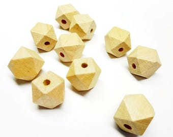 Set of 10 Wooden Beads Polygon shape 10 mm