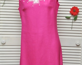 Vintage 60s 70s Women's Linen Dress Color Block Susan Thomas Pink White Beaded Bodice A Line Carl Gay Sleeveless Hot Pink Medium Designer