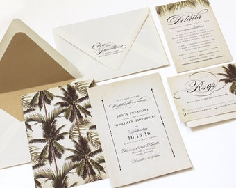 Tropical Wedding Invitation, Destination Wedding Invitation, Palm Tree Invitation, Vintage Tropical, Beach Invitation, Palm Leaves - SAMPLE