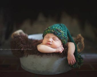Pixie Stocking Baby Photo Prop Knitted Sleepy Cap Newborn Shower Gift Going Home Outfit Coming Hand Knit Elf Hat Infant Tail Beanie