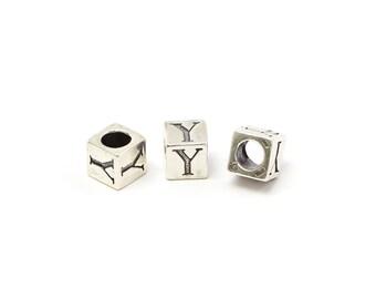Alphabet Beads, Alphabet Blocks Y, Sterling Silver, 4mm - 1pc (3192)/1