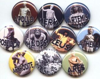 "OLYMPIANS Ancient GREEK Gods Goddess 10 Pinback 1"" Buttons Badges Pins"