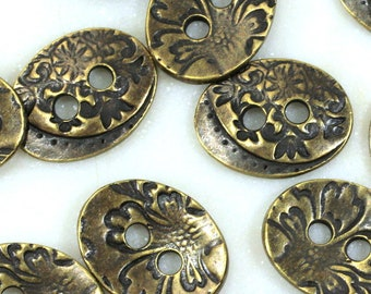 TierraCast Oval Jardin Buttons, 17mm, Double Sided, Knitting Findings, Sewing Findings, Leather Findings, Antiqued Brass, 4 Pieces,  8927