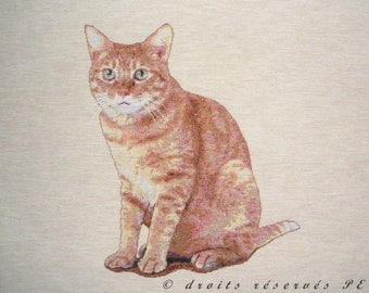 Coupon fabric Panel tapestry (cushion, bag) Red cat with green eyes