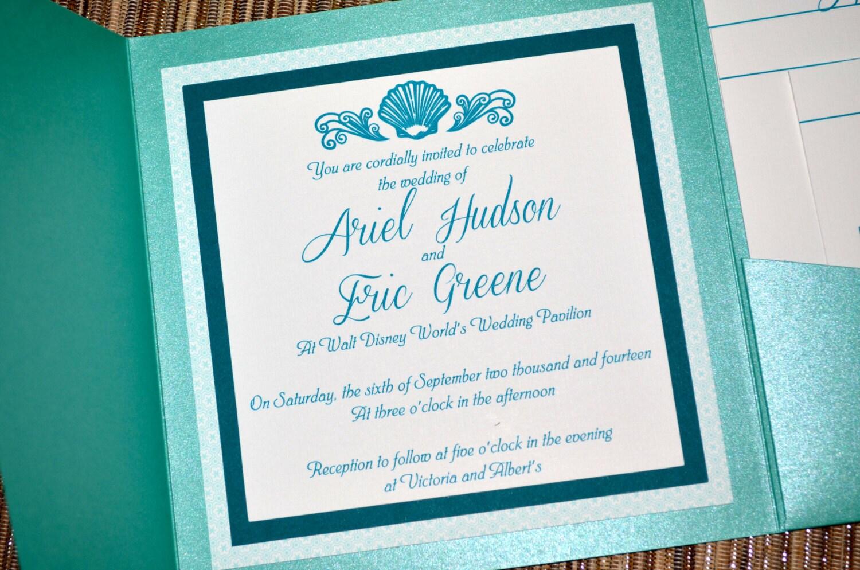 Fairy Tale Wedding Invitations - The Little Mermaid, Pocket Fold