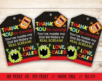 Monster Thank You, Monster Favor Tag, Monster Birthday Favor Tag, Monster Party Favor Tag, Monster Bash Favor Tag, Birthday Thank You