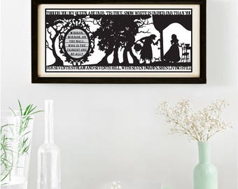 Snow White's Mirror Signed and Framed Papercut Print • Fairytale Wall Art • Paper Cut Quote • Fairy Tale Gift