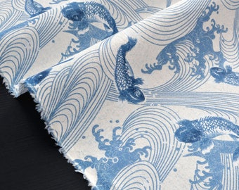 Soft Japanese cotton ecru x 50cm bottom blue koi carp fish and wave traditional pattern