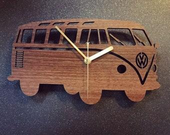 Walnut Veneered VW Campervan Clock
