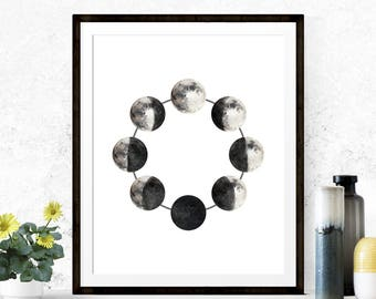 Moon Phases Print, Moon Phase Art, Space Art, Lunar Art, Graphic Art, Graphic Print, Moon Art Print, Wall Decor, Watercolor Style