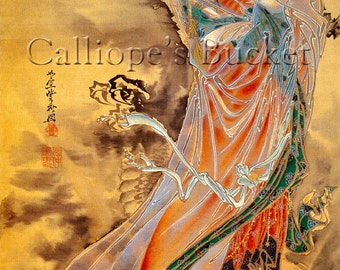 """The Goddess Guanyin or Kannon (觀音) standing on a dragon, watercolor on silk. (all artworks are sold without the """"Calliope's Bucket"""" stamp)"""