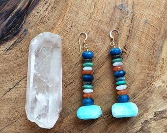 Gemstone Earrings / Peruvian Opal Earrings / Chrysocolla Earrings / Labradorite Earrings / Moonstone Earrings