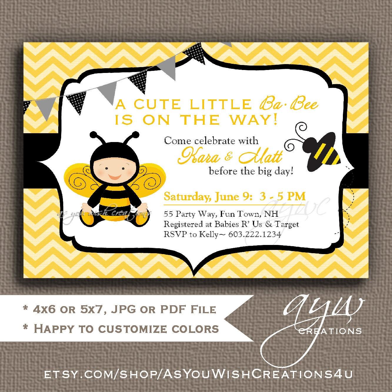 Bee Baby Shower Invitation Boy Bee Invitation Chevron Baby