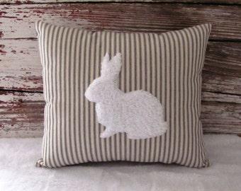 Bunny Rabbit Pillow White Fur Gray or Blue Ticking Stripe