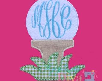 Summer Monogram Golf Ball Embroidery Design Machine Applique