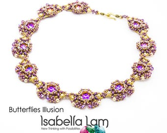 Butterflies Illusion Beadwork Necklace Pdf tutorial instructions for personal use only
