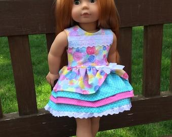 Dress fits like American Girl doll dress, Birthday Party, Ruffle Dress, Lace trim, Party dress, Fancy dress, American 18 Girl doll clothes