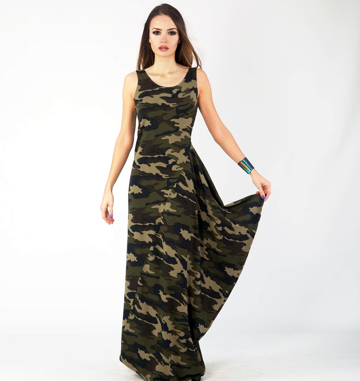 Camouflage Dress Military Dress Asymmetrical Dress Long