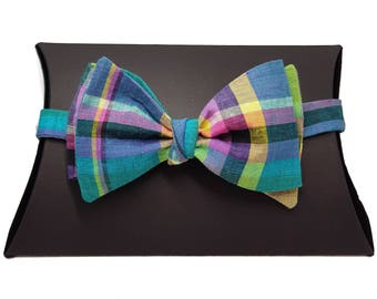 Checked Tartan Self Tie Bow Tie Multi Colored
