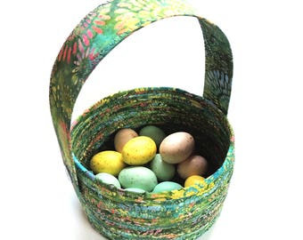 Large Green and Brights Easter Basket // Handmade Coiled Fabric Bowl With Handle Easter Bunny Basket Spring Egg Basket Easter Decor