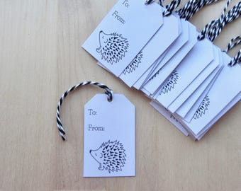 Hedgehog Gift Tags, Set of 20 All Occasion Gift Tags, Simple Black and White Hedgehog Illustration Gift Labels, Hedgehog Gift Packaging