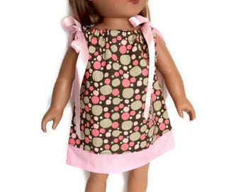 18 Inch Doll Dress, Polka Dot Doll Dress, Pillowcase Dress, Pink and Brown Summer Doll Clothes