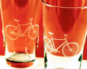 4 Bicycle Etched Pint Glasses - Great guy gift
