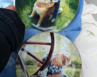 Danbury Mint, Collectors Plates, Collectible Plates, Collectibles, Dogs, Kittens, Boy with dog,Backyard Buddies, Counrty Kitten