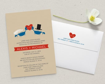 Crab Wedding Invitation Suite