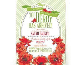 Derby Bridal Shower Invitations in Red
