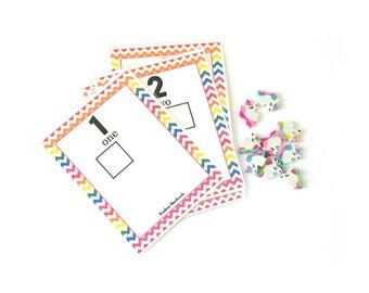 Montessori Rainbow Unicorn Mini Eraser Math Activity for 2 - 3 years old, Educational Rainbow Unicorn Games, Unicorn Birthday Gift for Kids