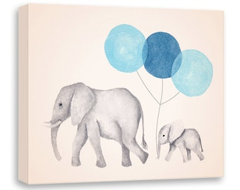 Elephant Painting - Canvas Nursery Art - Navy Blue and Gray - Nursery Decor - Watercolor Elephant - Print - Canvas Artwork - E628