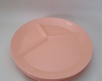 Vintage Packerware Pink Divided Picnic Plates - Set of 10