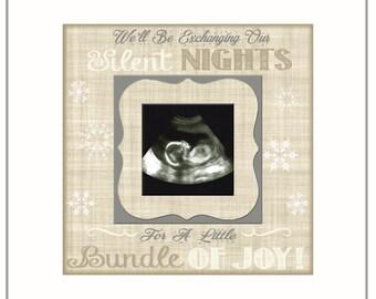 CHRISTMAS PREGNANCY REVEAL idea ~ Sonogram Photo ~ Sonogram Picture Frame ~Baby Reveal Idea to Parents~ Reveal to Family- Neutral Tones