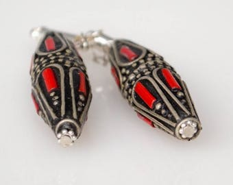 Coral and Afghan Silver Magnetic Clasp Gauged Earrings