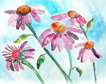 Flower Wall Art, Flower Art Print, echinacea, Girls Wall Art, Flower Painting, bedroom decor, Colorful, teal, purple, orange
