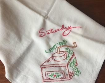Vintage Dish Towel Cotton Lunch Dishtowel Mid Century Embroidered Tea Towel
