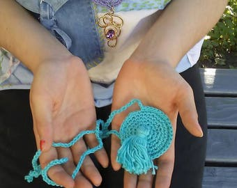 Blue Trinket Bag Crochet Pennant