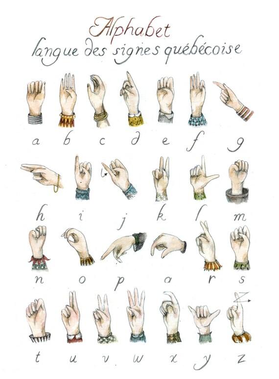 Très Alphabet Langue des signes Québécoise ou Américain LSQ ou DR44