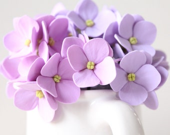 Hair bobby pin polymer clay flowers Set of 5 Light lilac hydrangea - 5 with 3 flowers