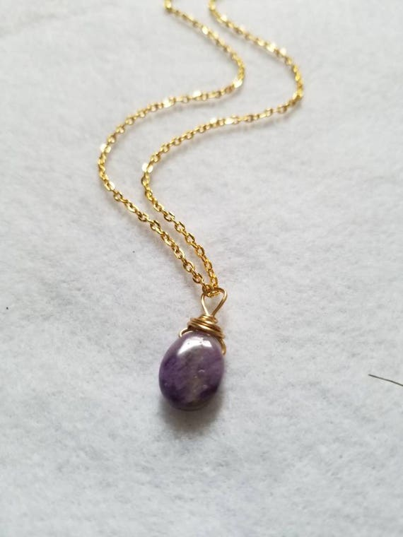 Amethyst Tears: Reiki Attuned Wire Wrapped Amethyst Pendant Necklace