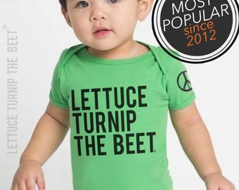 lettuce turnip the beet ® trademark brand OFFICIAL SITE - green cotton bodysuit - seen in Pregnancy and Newborn magazine - vegan baby gift
