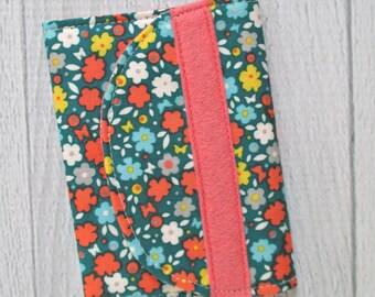 Gift Card Wallet. Vintage Floral Business Card Holder. Emerald and Coral Card Case.