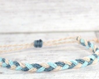 beige & blue braided bracelet, friendship bracelet, adjustable bracelet, surfer string bracelet, stacking bracelet costa rica beach bracelet