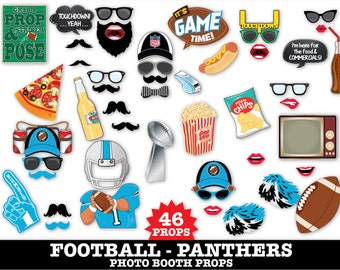 Panthers Football Photo Booth Props - Bowl Party- Football Party - Instant Download PDF - 46 DIY Printable Props