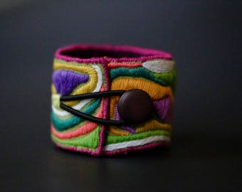 Wildflower Love...A Hand-Stitched & Embroidered Gypsy Tribal Cuff with Vintage Button