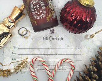 gift certificate - ECARD VERSION - holiday gift cart - christmas gift certificate Eugenie Bee jewelry gold plated 18k - victorian heirloom