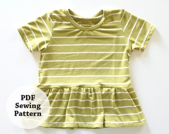 Glory Tee (PDF Sewing Pattern) Baby, Toddler, Girls Apparel